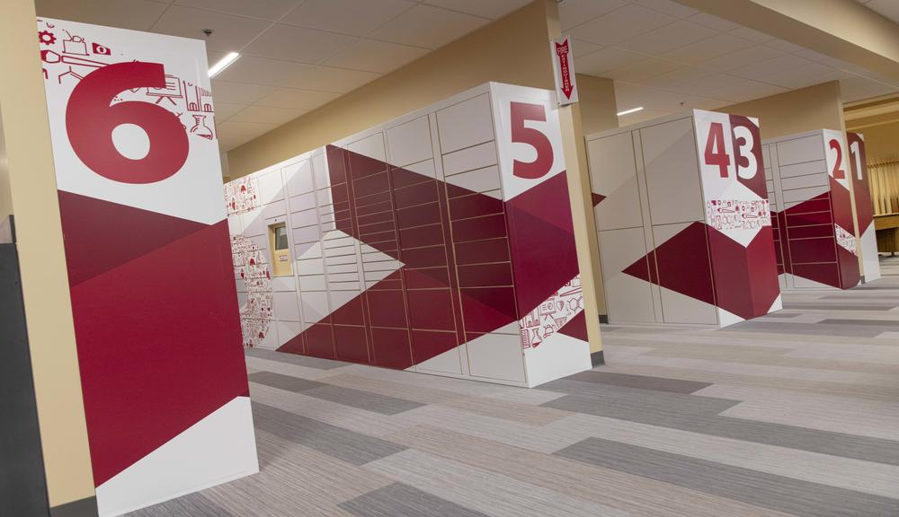 A close-up photo of the new mail stations in the Rubin Campus Center.