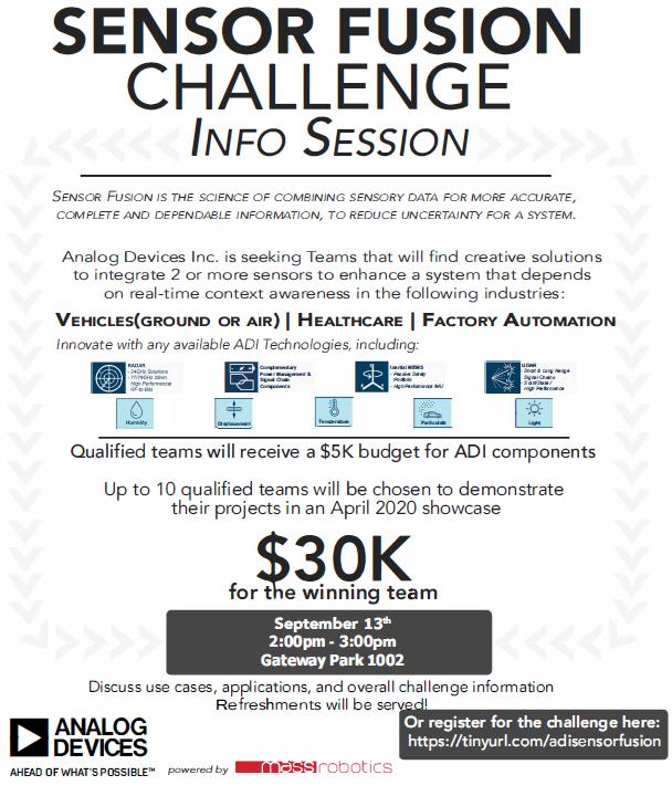 MassRobotics flyer for the Sensor Fusion Challenge Info Session