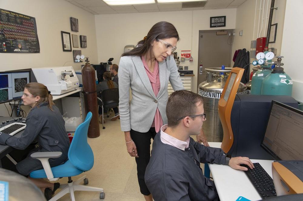 WPI professor Danielle Cote (center) leads a WPI research team that will study cold spray 3D printing techniques.