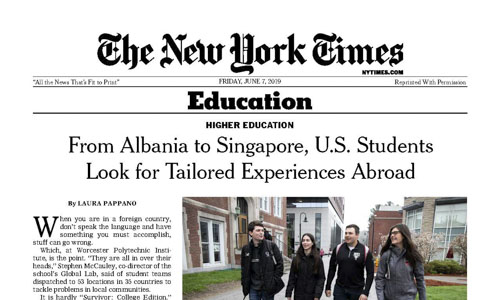 WPI's Global Projects Program Features in The New York Times alt