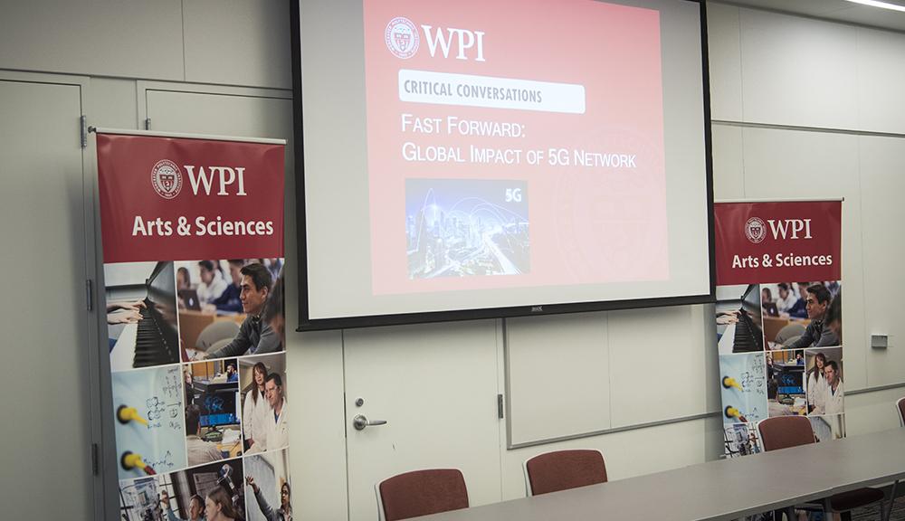 Critical Conversations Series presentation on a projector screen