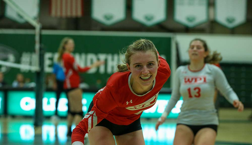 Colleen Mullins smiles at the camera during a recent volleyball match.