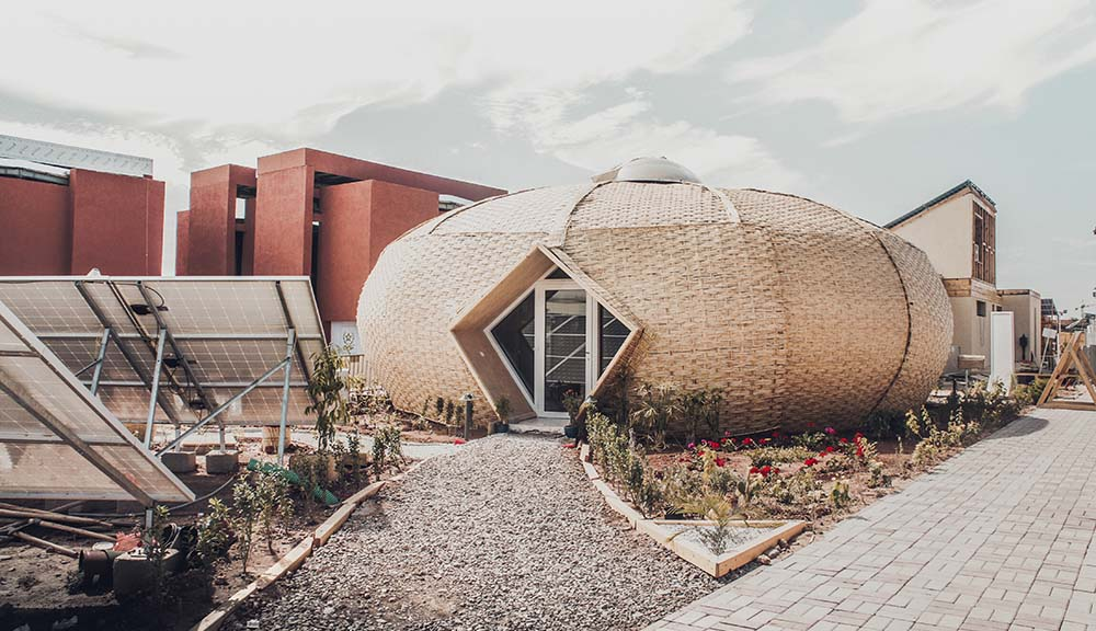 An exterior photo of the sustainable home Team Oculus built as part of the Solar Decathlon AFRICA 2019.