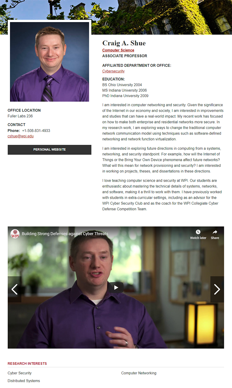 Screenshot of Craig Shue's Faculty Profile displaying the new video highlight
