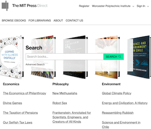 screenshot of the homepage of MIT Press Direct