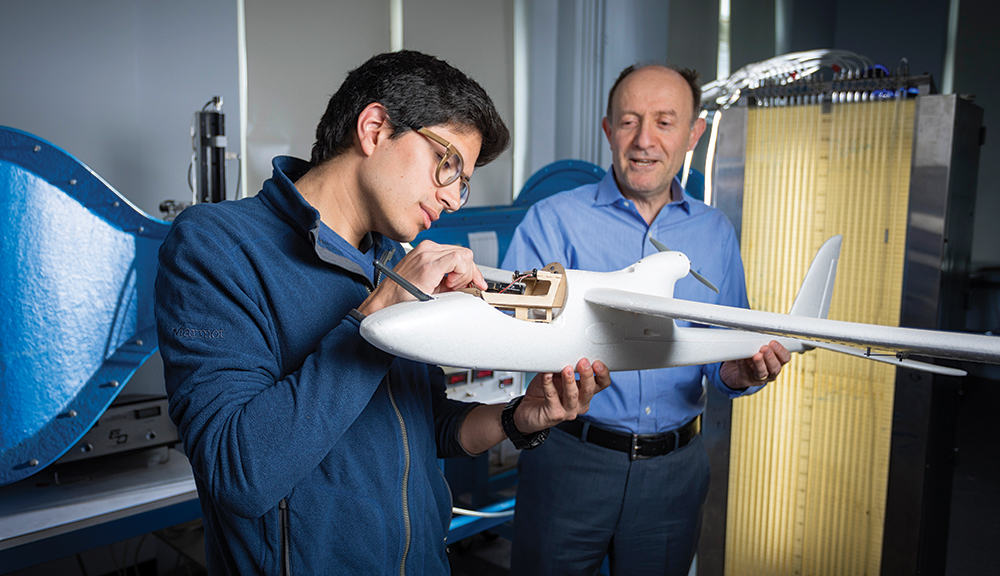 Aerospace engineering students work closely with faculty to gain mastery in the fundamentals of aerospace engineering and a strong technical competency in modern aerospace components and systems.  alt