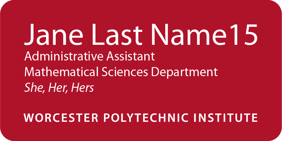 WPI name tag for employees