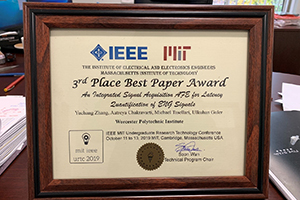 Framed 3rd Place award for Best Paper - IEEE MIT