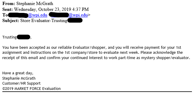 Sample email dated October 23, 2019 with Subject: Store Evaluator alt
