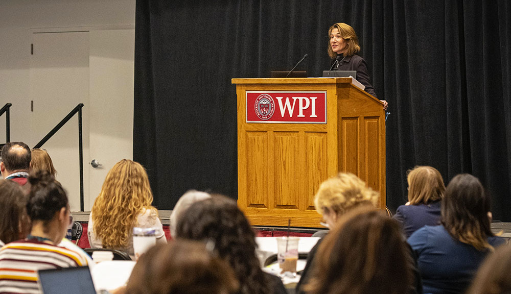 Lt. Governor Karyn Polito gives opening remarks at the Project Lead The Way Networking Conference.