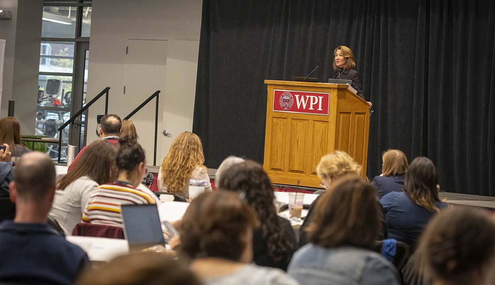 Lt. Gov. Karyn Polito addresses attendees of the annual Project Lead the Way conference.