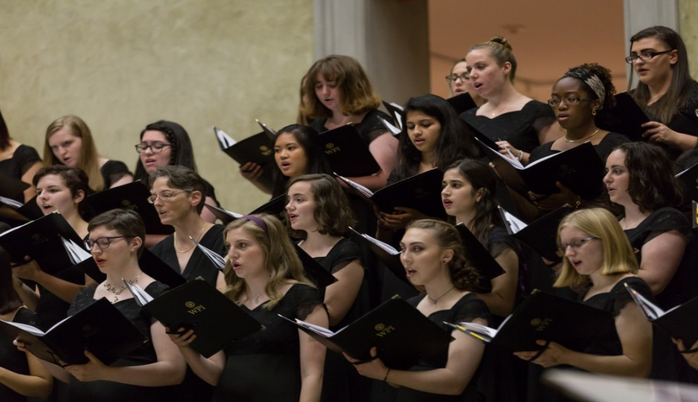 Members of Alden Voices perform at the Worcester Art Museum.