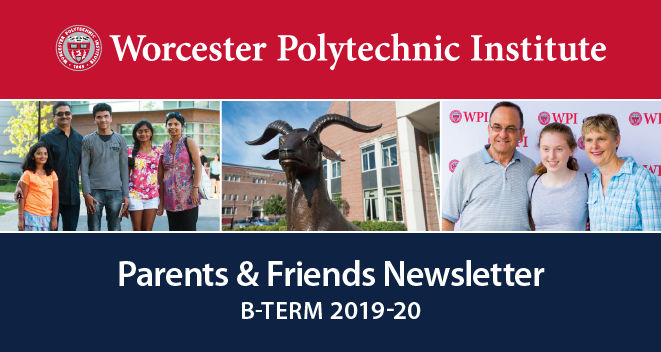 The banner image for the B-Term Parents & Friends newsletter.
