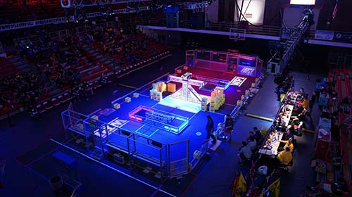 An aerial shot of the BattleCry robotics competition arena.