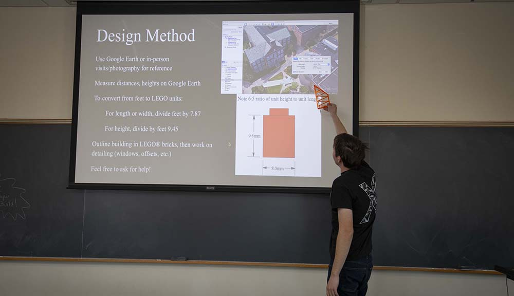 A LEGO Club member reviews the LEGO Design Method on a projection screen.