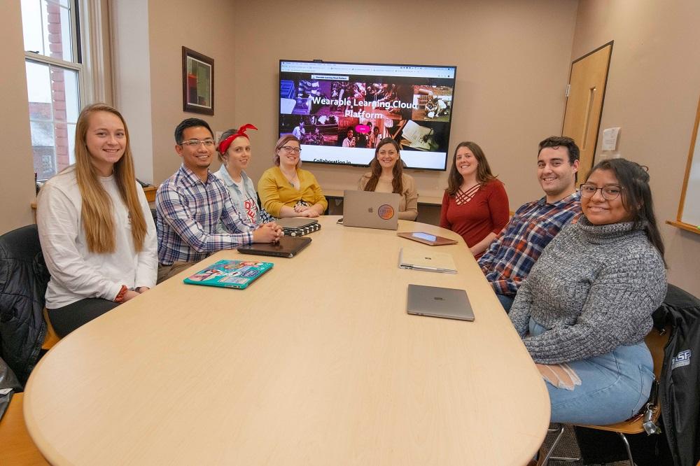 WPI researchers (from left) Hannah Smith, Francisco Castro, Olivia Bogs, Gillian Smith, Ivon Arroyo, Erin Ottmar, Richard Valente and Luisa Perez.