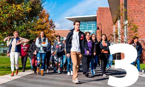 students walking on WPI campus