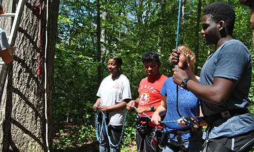 Students participating in a connections program outdoors