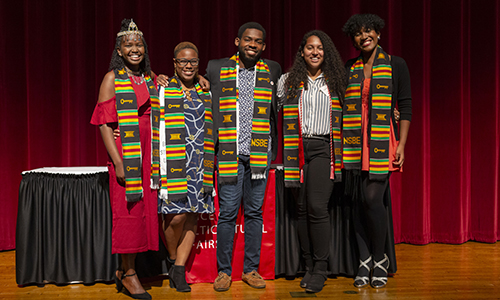 5 students from OMA in their graduation stoles