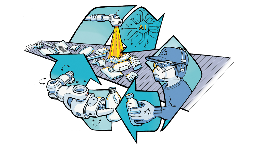 Illustration of robotic recycling