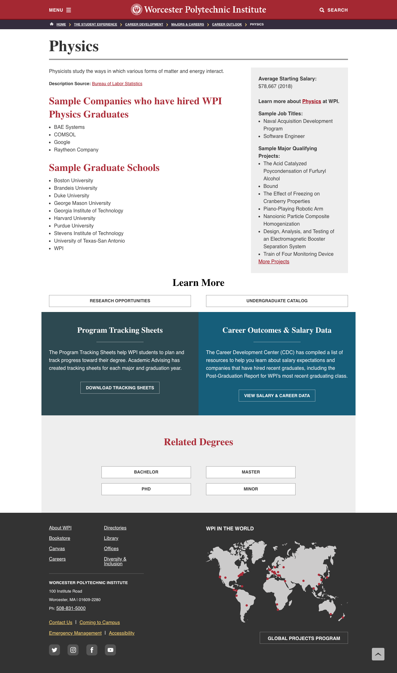 Screenshot of redesigned Career Outlook page for Physics majors
