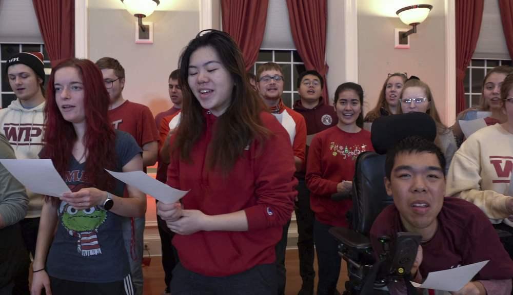 WPI vocal groups wishing happy holidays