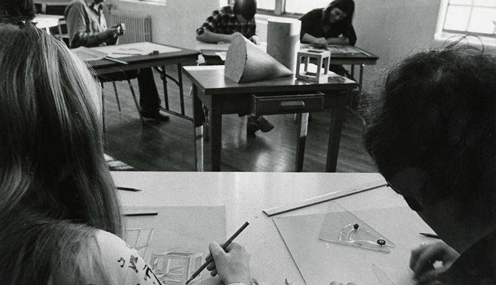 Students learn mechanical drawing, which was useful for their studies and projects alt