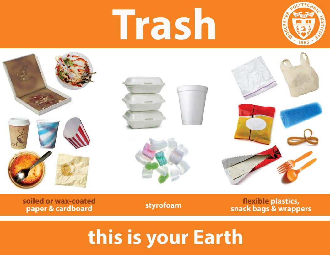 Poster about what belongs in the trash