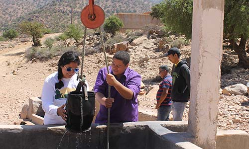 WPI students project-based learning at water well