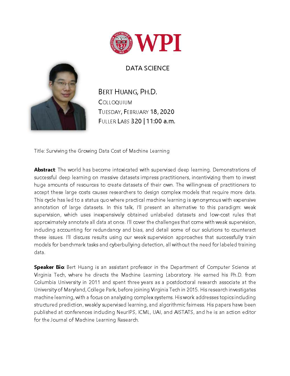 Bert Huang, Ph.D. Colloquium alt