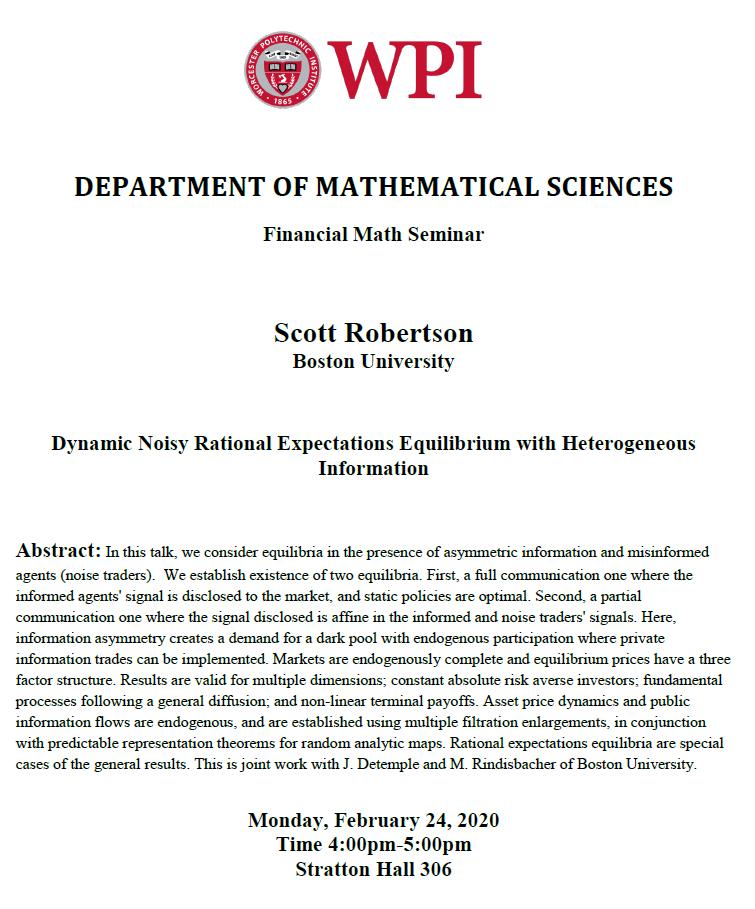 Financial Math Seminar Scott Robertson