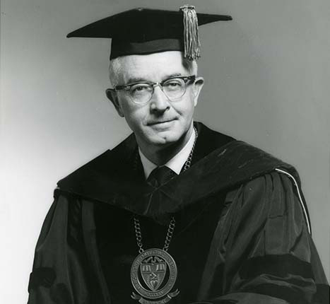 Portrait of Dr. George W. Hazzard, eleventh president of Worcester Polytechnic Institute. alt