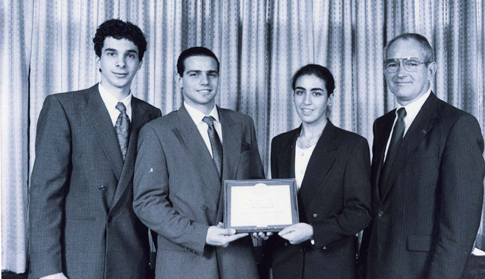 President Strauss with President's IQP Award co-winners (circa 1980).