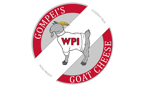 Official logo for Gompei's Goat Cheese, a goat in a red circle
