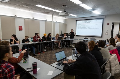 Paula Quinn, Associate Director for the Center for Project-Based Learning, leading WPI and Armenian students in her social science methods prep course. alt