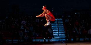 Wrestler jumping