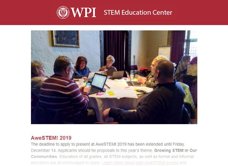 STEM, Education, Newsletter, STEM Education Center, WPI
