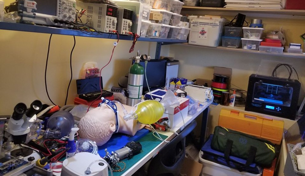 A shot of Greg Fischer's at-home workspace, including a ventilator prototype.