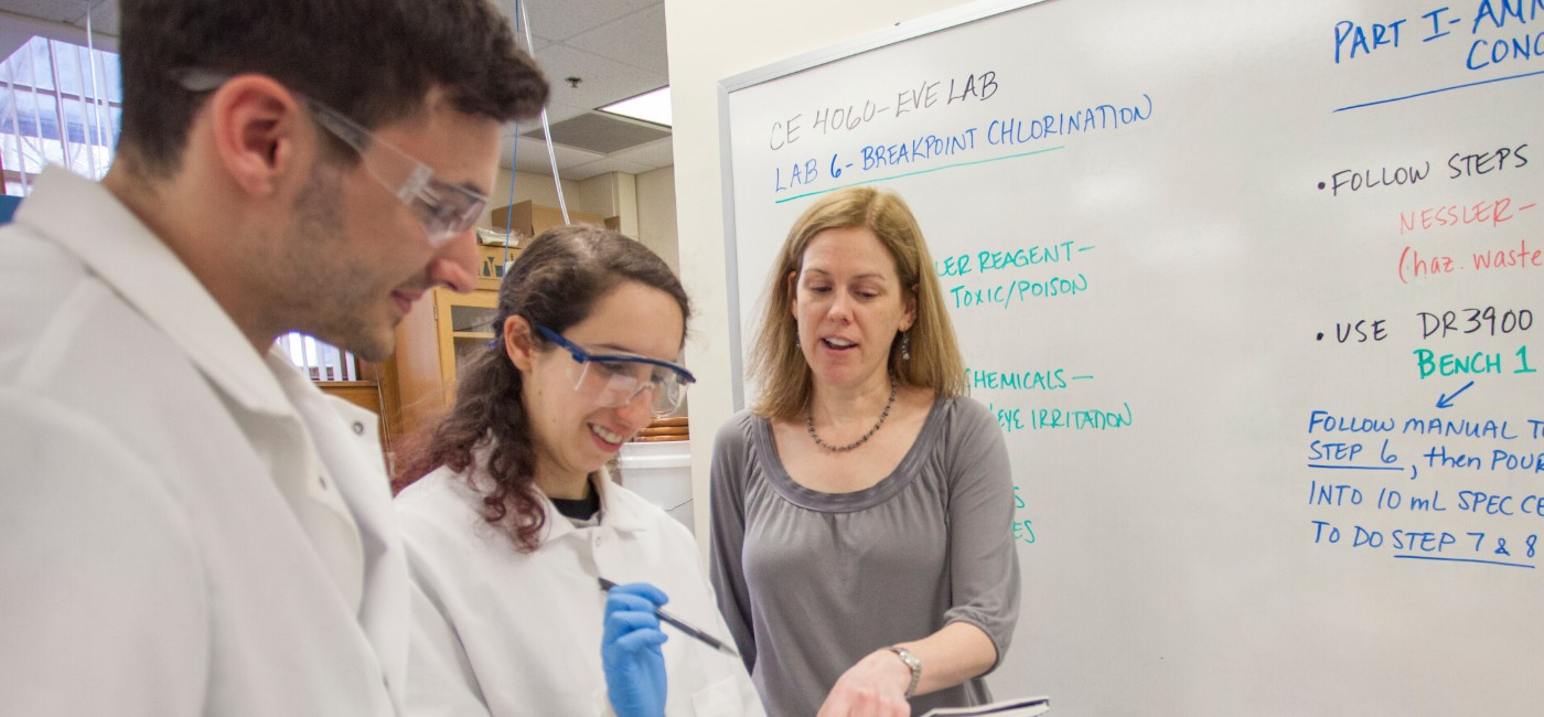Faculty member working with students in the lab