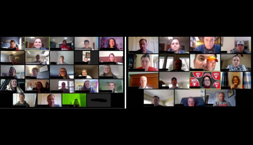 A screenshot of two Zoom meetings, one of WPI student athletes, and one of WPI athletics coaches.