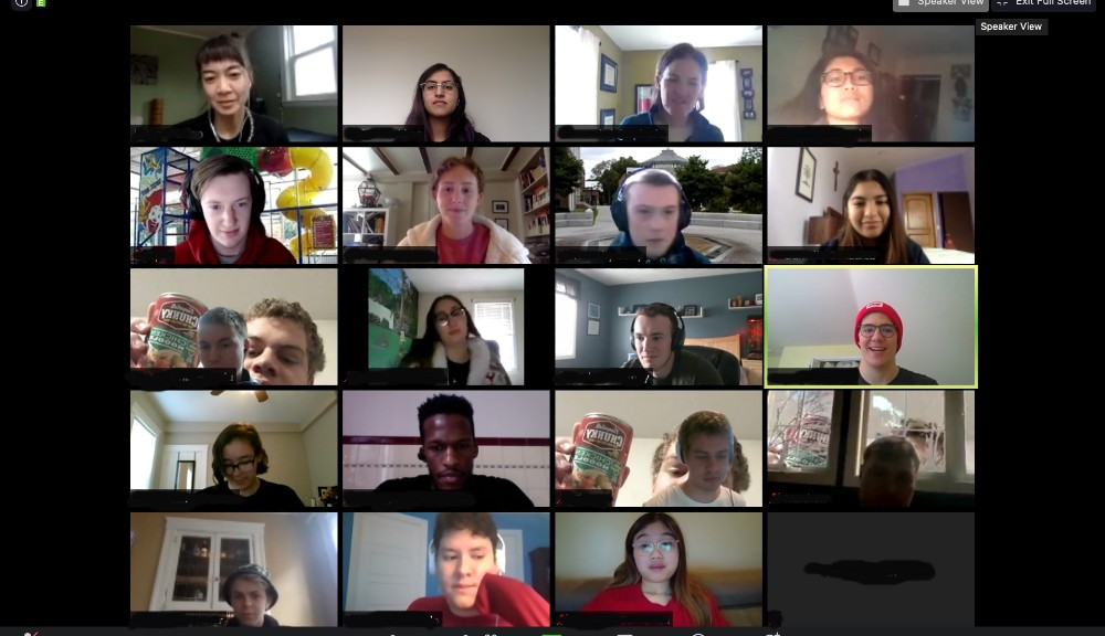 A screenshot of a Zoom meeting of an IQP team and their advisor.