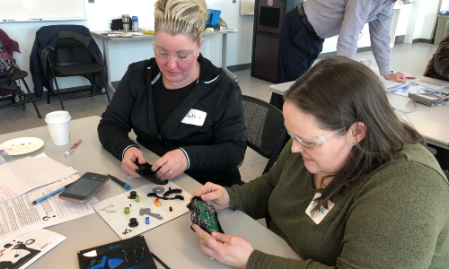 Program participants building in the makerspace