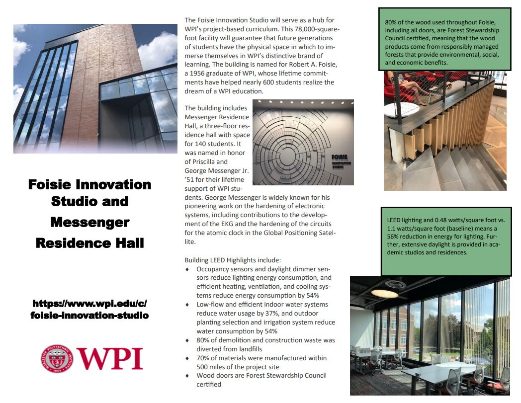 Foisie Innovation Studio and Messenger Residence Hall Digital Tour Page 1