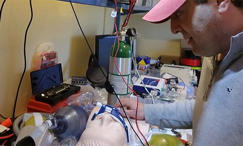 Professor building a ventilator