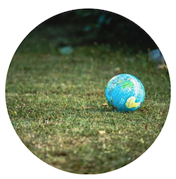 small globe on grass
