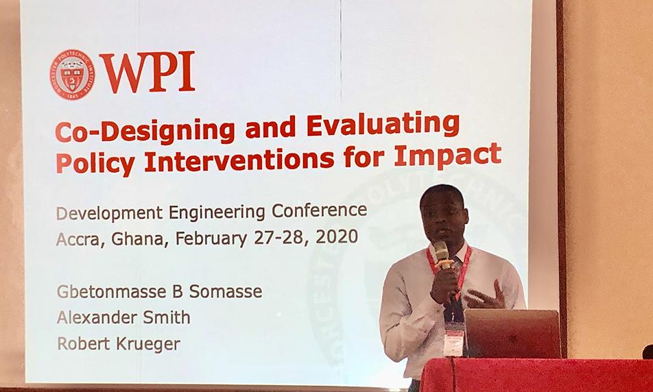 WPI Professor facilitating a presentation