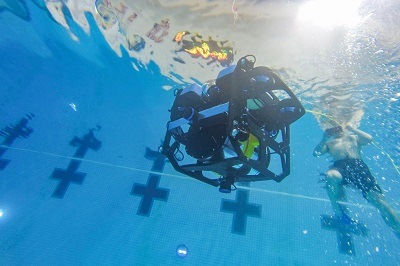 The lionfish harvesting robot being tested in the pool. alt