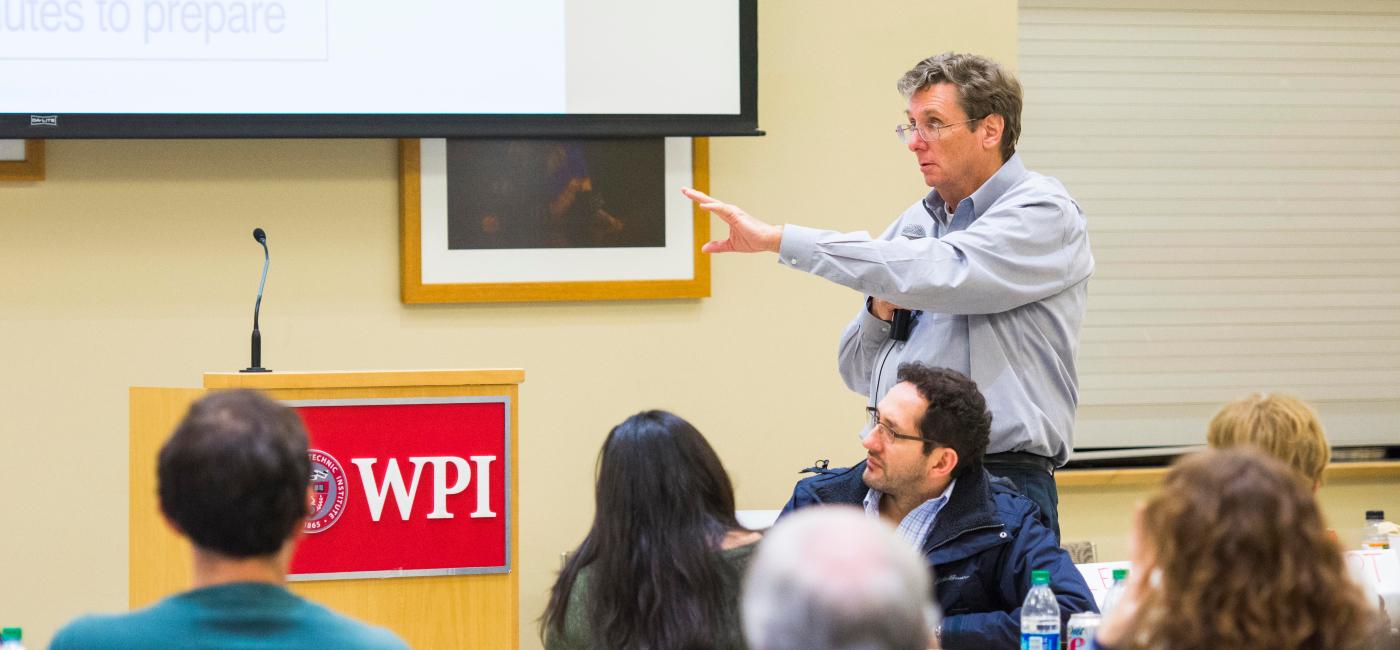 Professor Carlson giving a presentation