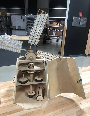 Students built a working model of the windmill. alt