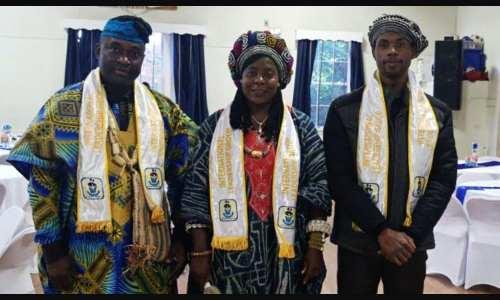 Douya Augustin (president, Bazou New England), Mabigoup Ange (representative of Bazou's mayor), and Albert Nana Beka